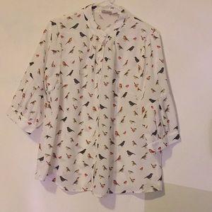 White bird print blouse
